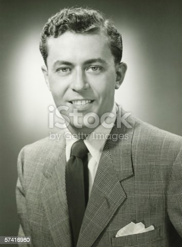 istock Young man in checked jacket posing in studio, (B&W), (Close-up), (Portrait) 57416980