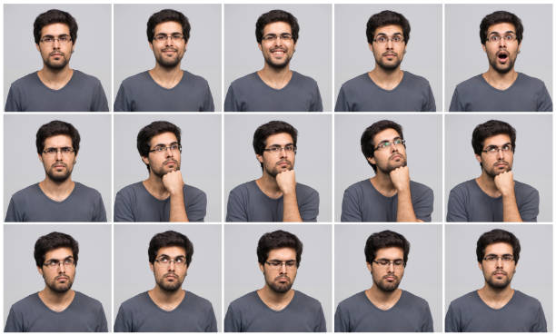 young man in different poses - facial expression stock pictures, royalty-free photos & images