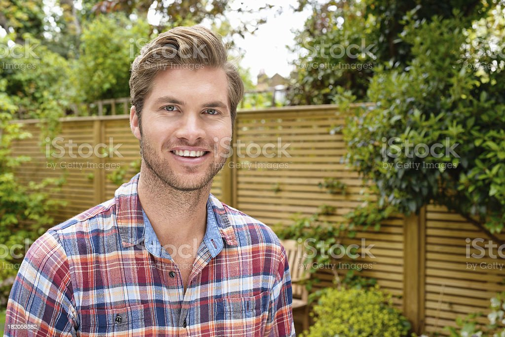 Young Man in Garden royalty-free stock photo