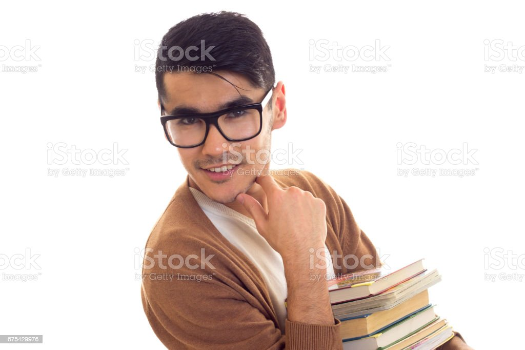 Young man in glasses with books royalty-free stock photo