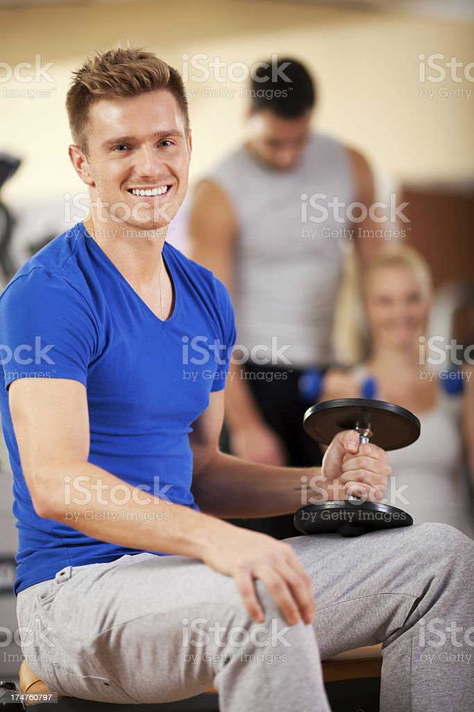Young man in gym royalty-free stock photo