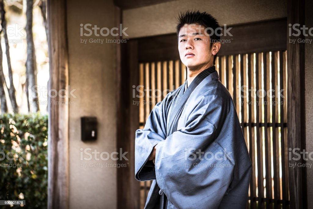Young man in Kamakura stock photo