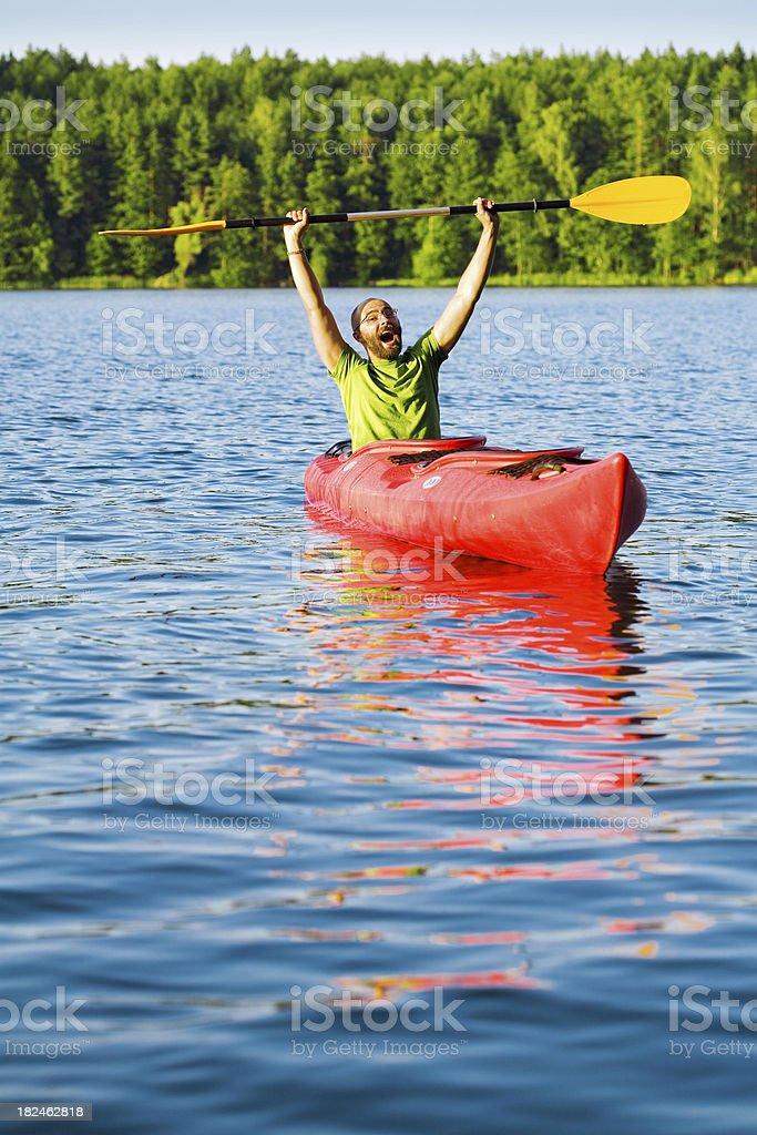 Young Man In Red Kayak Screaming royalty-free stock photo