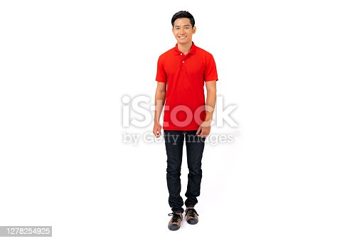 T-shirt design, Young man in red t-shirt isolated on white background