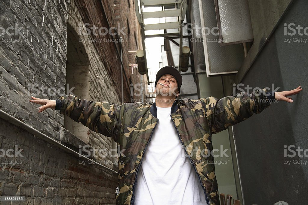 Young Man in the Alley royalty-free stock photo