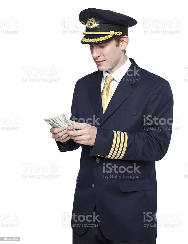 Young man in the form of a passenger plane pilot stok fotoğrafı