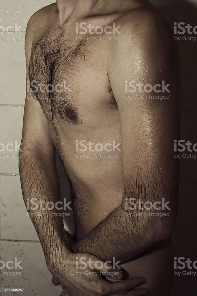 young man in the shower royalty-free stock photo