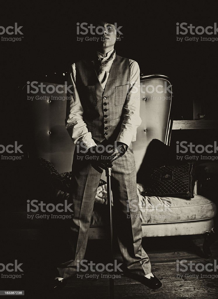 Young Man In Vintage Clothes stock photo