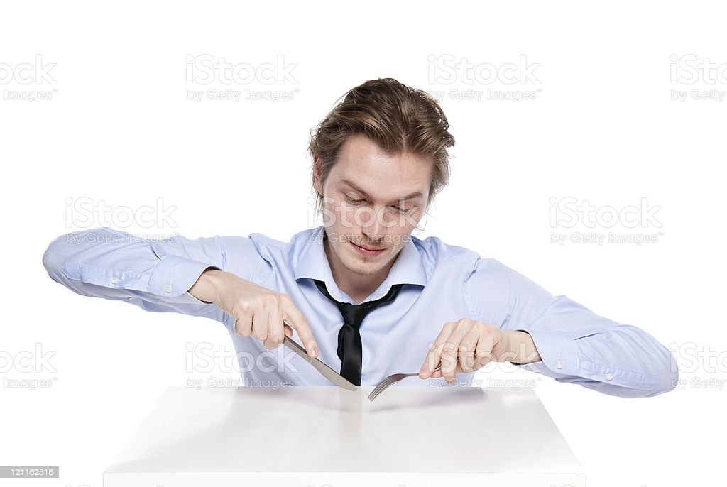 Young man is hungry royalty-free stock photo