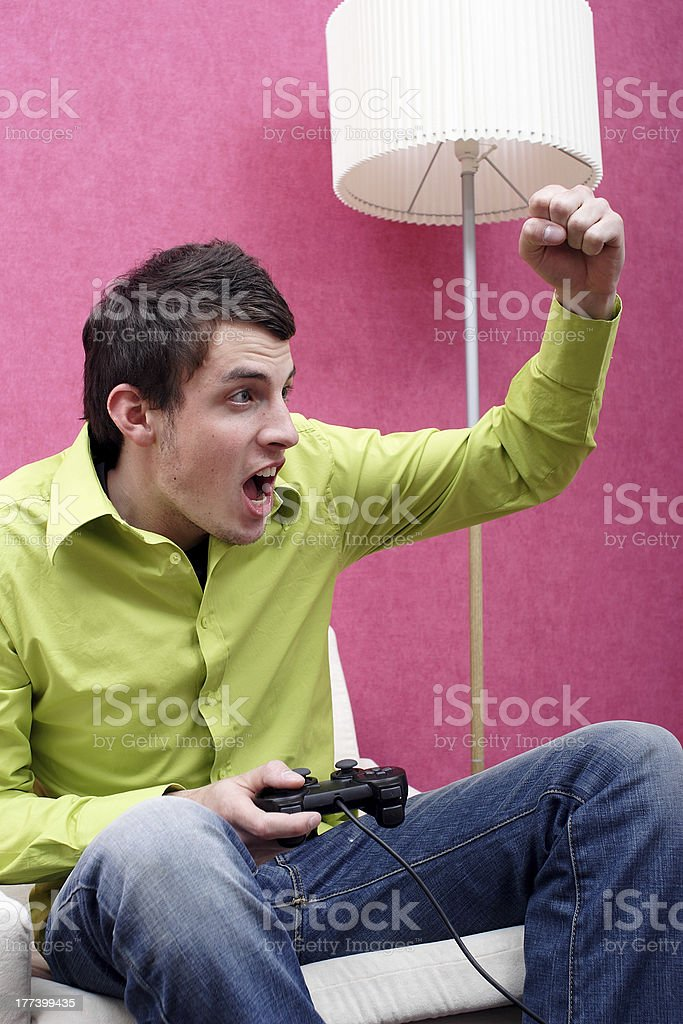 Young Man Is Playing a Game stock photo
