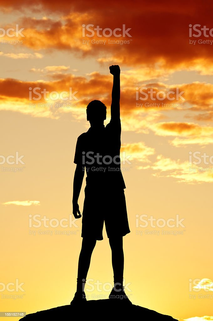 Young man is punching air in celebration, sunset scenery (IV) stock photo