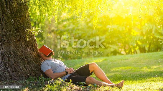 Man fell asleep under the tree with red book on his face