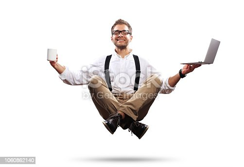 istock Young man is soaring in the air 1060862140