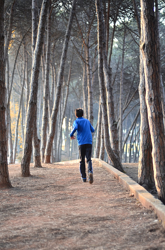 young man jogging in the forest