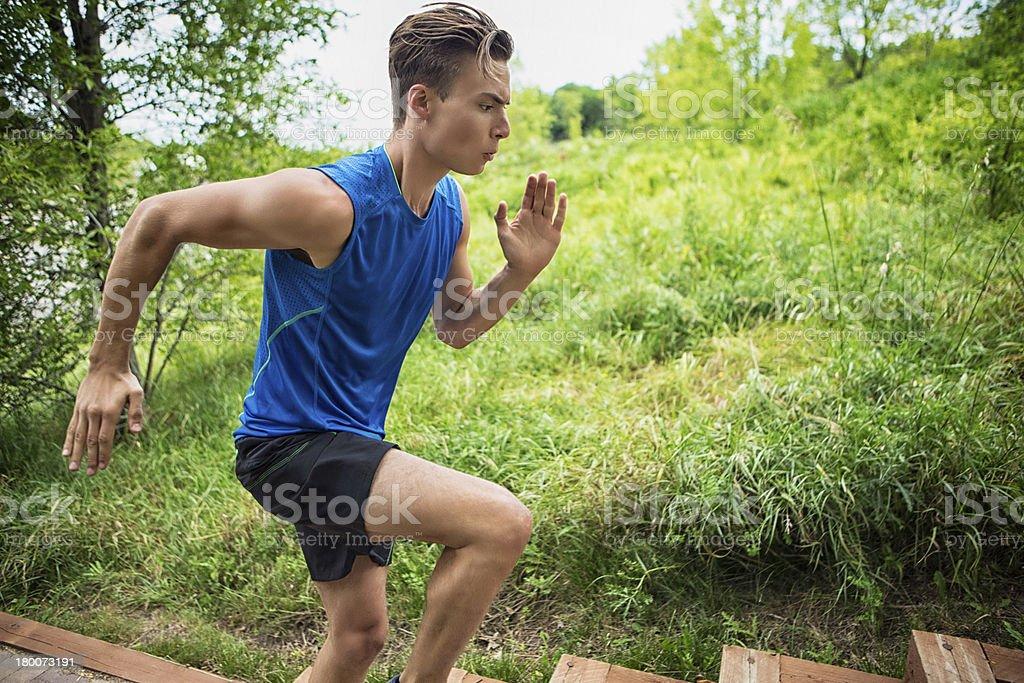 Young Man Jogging royalty-free stock photo