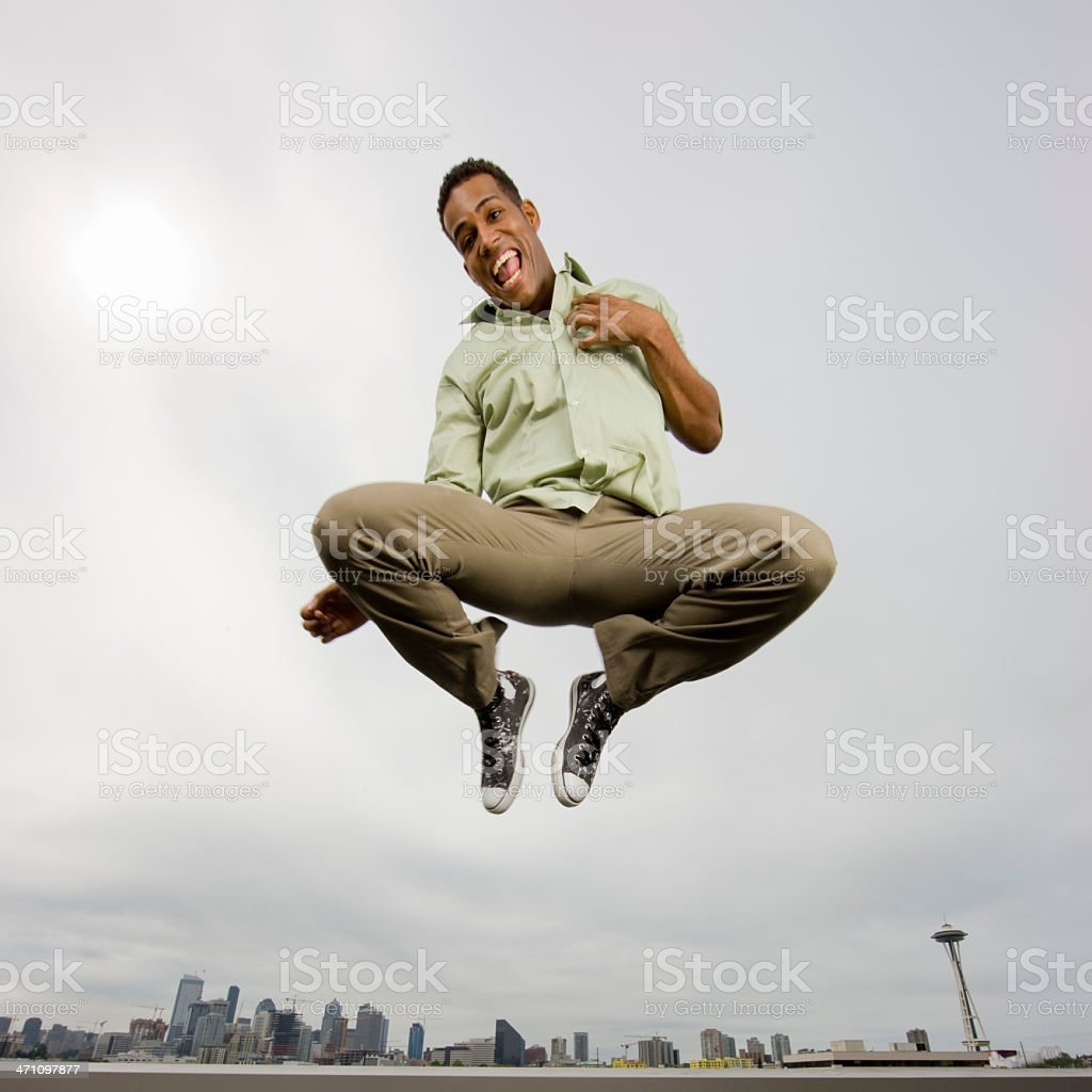 Young Man Jumping for Joy royalty-free stock photo
