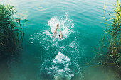 istock Young man jumping into the turquoise lake during summertime 1255209649
