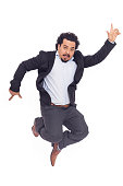 istock Young man jumping on white background 510688492