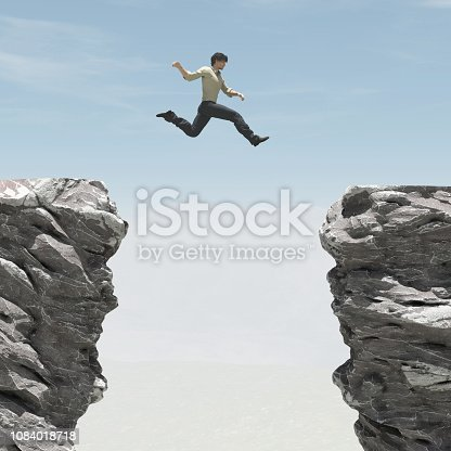istock Young man jumping over the chasm. This is a 3d render illustration 1084018718