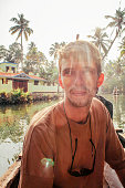Small boat moored in the backwaters of Kerala. India