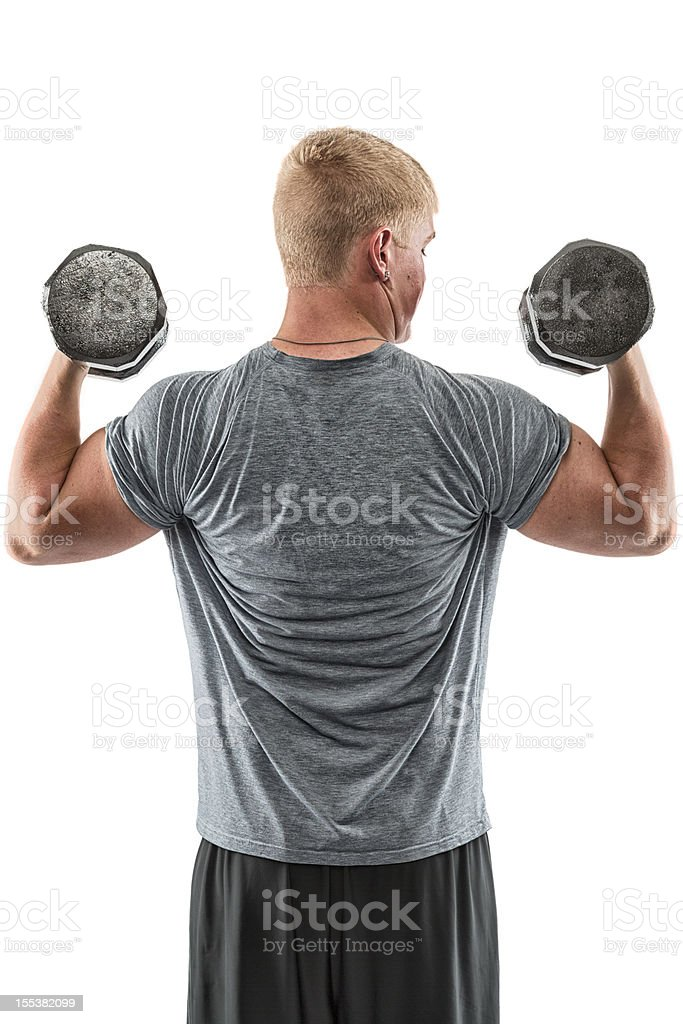 Young Man Lifting Dumbell royalty-free stock photo