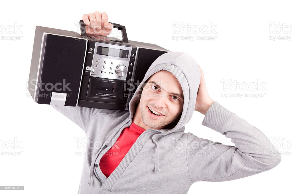 Young man listening to music stock photo