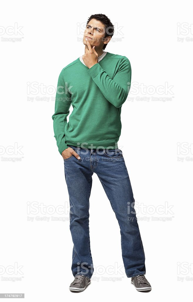 Young Man Looking Away - Isolated royalty-free stock photo