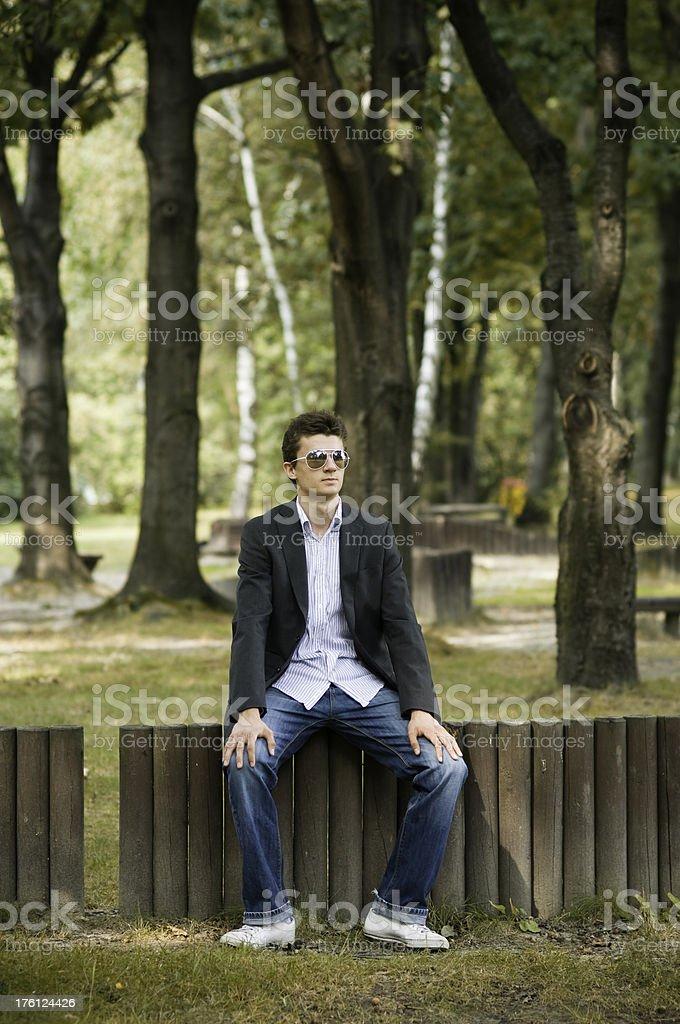 Young man looking far away stock photo
