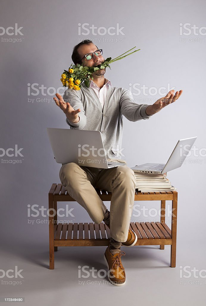 Young man looking for love on the Internet. Date. Concept. royalty-free stock photo