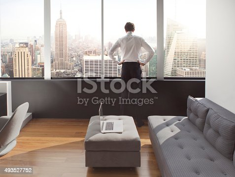 istock Young man looking out at city skyline 493527752