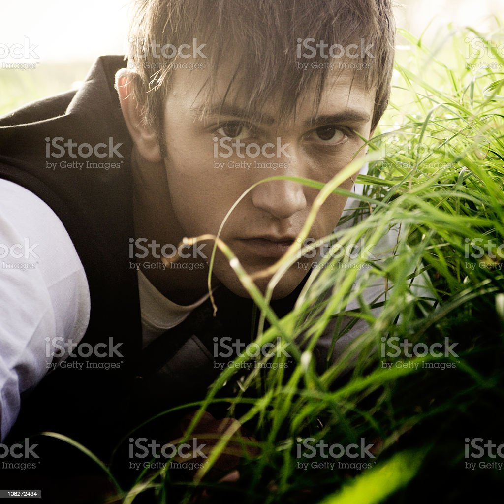 Young man lying in field royalty-free stock photo