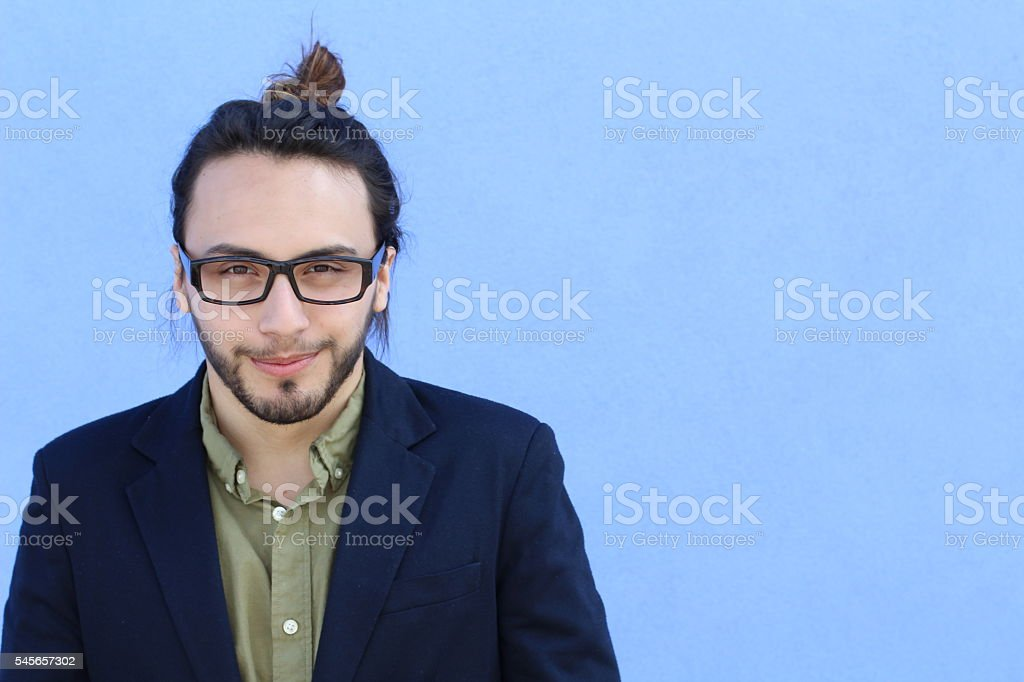 Young man making a funny face with copy space stock photo