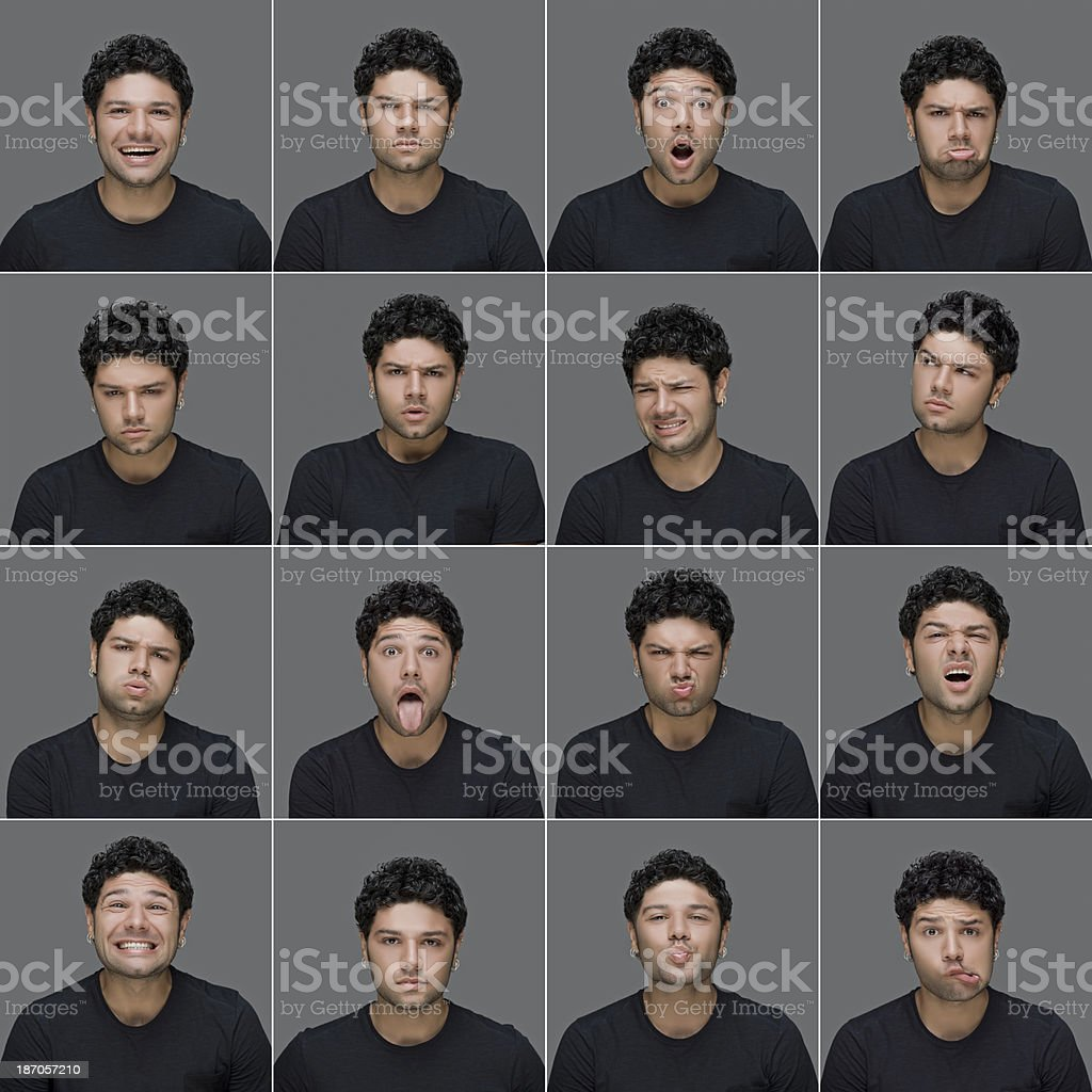 Young man making facial expressions royalty-free stock photo