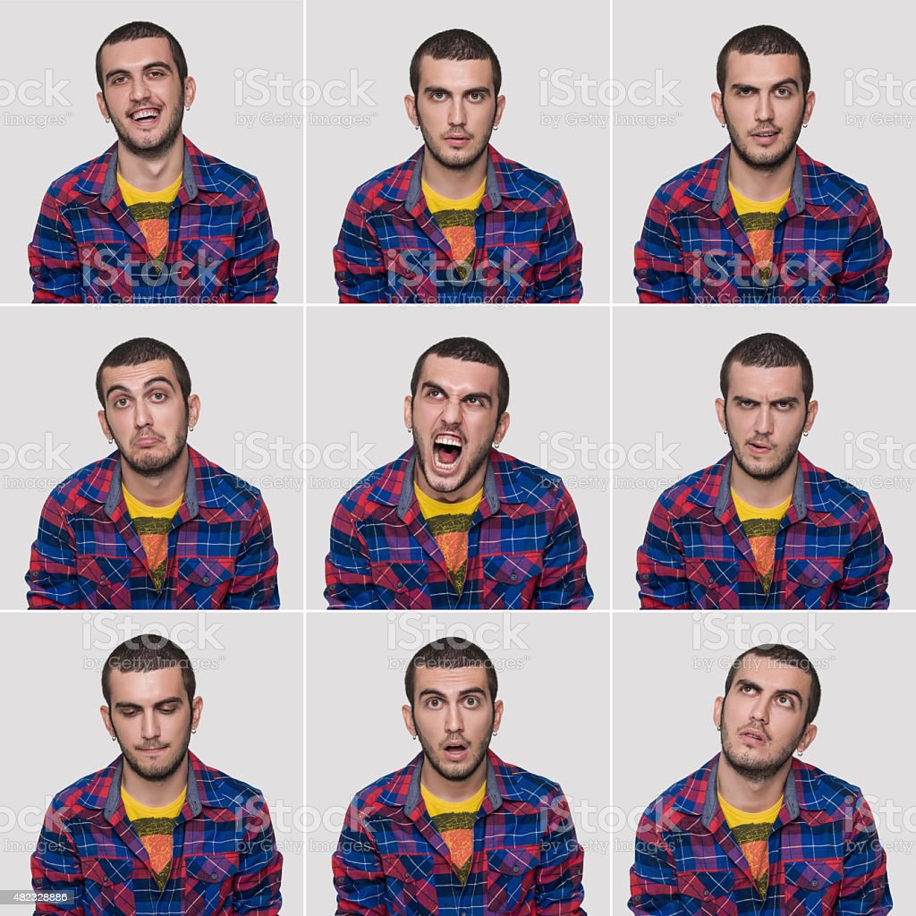 Young man making nine different facial expressions. High resolution...