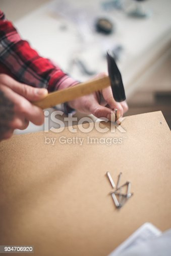 452592895 istock photo Young man making his own furniture at home 934706920
