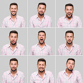 Young man making nine different facial expressions. High resolution image. All the pictures developed from Raw.