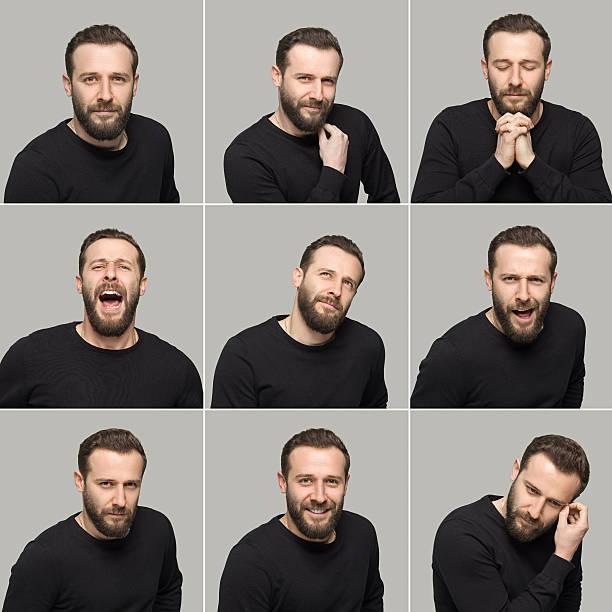 jeune homme faire de différentes expressions du visage - image multiple photos et images de collection