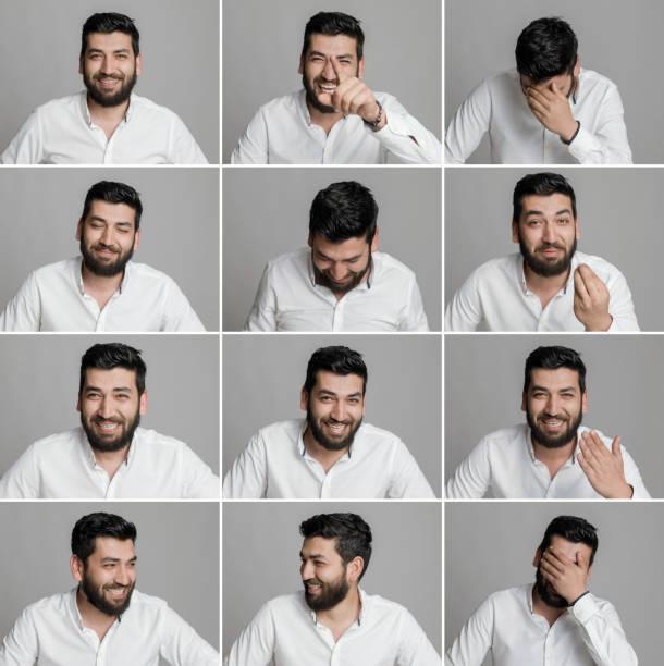 젊은 남자 다양한 얼굴 표정 만들기 - 시리즈 일부 뉴스 사진 이미지