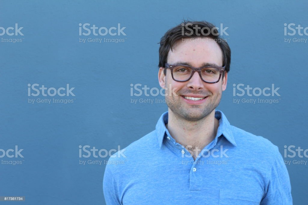 Young man man wearing glasses portrait stock photo