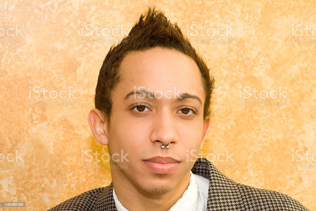 Young Man Nose Ring and Funky Hair royalty-free stock photo