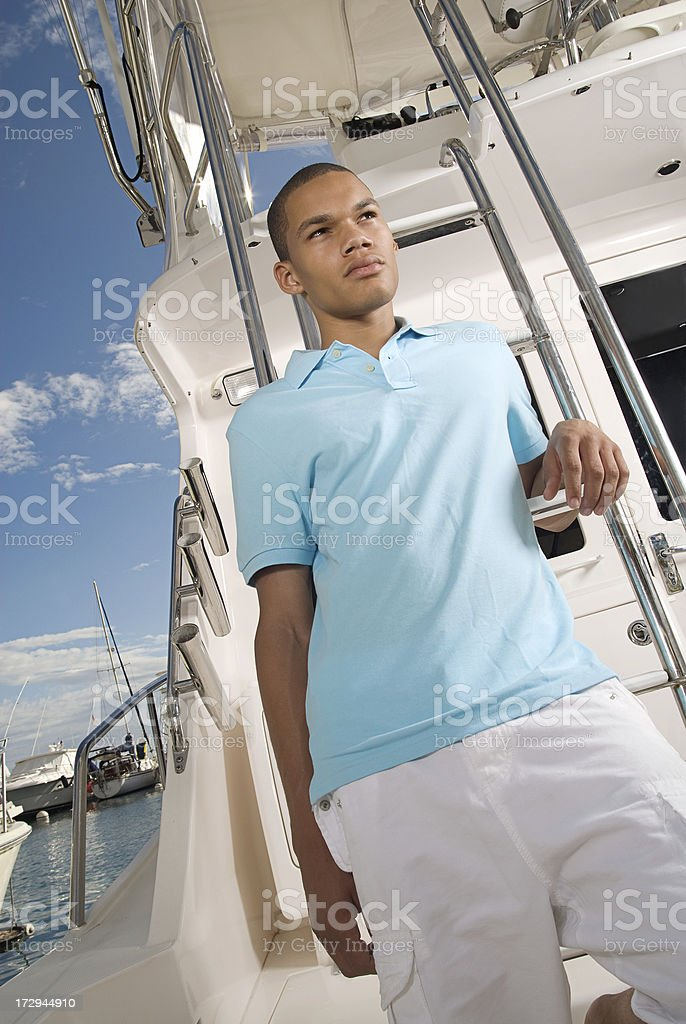 Young Man On A Boat royalty-free stock photo