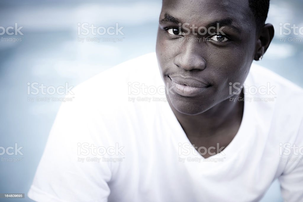 Young Man on Blue royalty-free stock photo