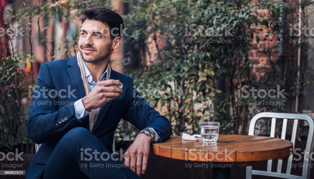 Young man on coffee break royalty-free stock photo