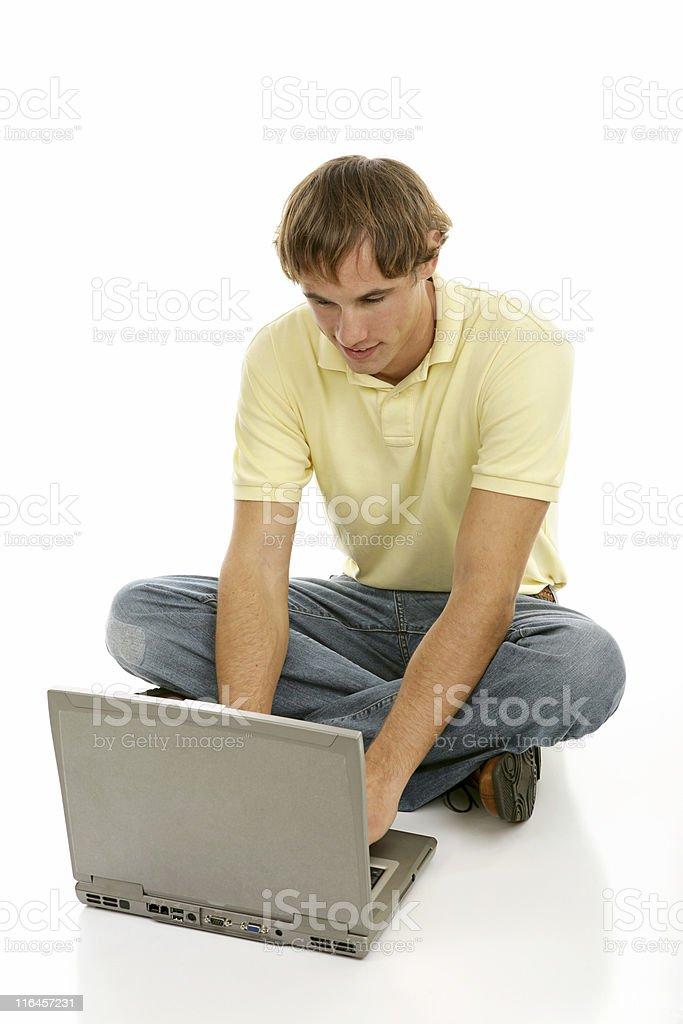 Young Man on Computer royalty-free stock photo