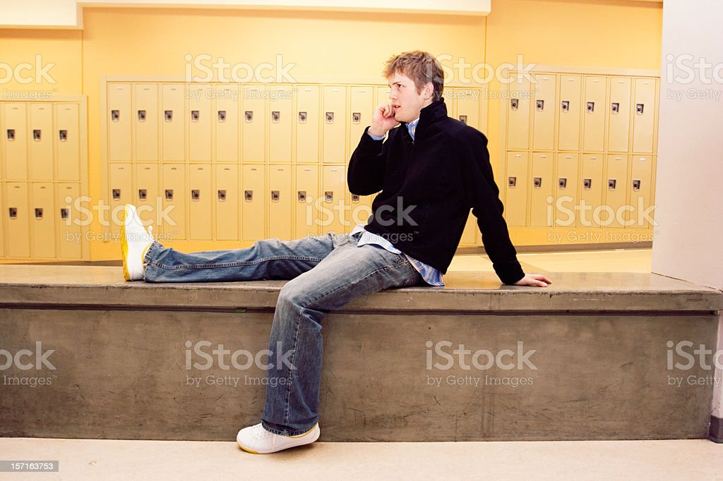 Young Man on his Phone royalty-free stock photo