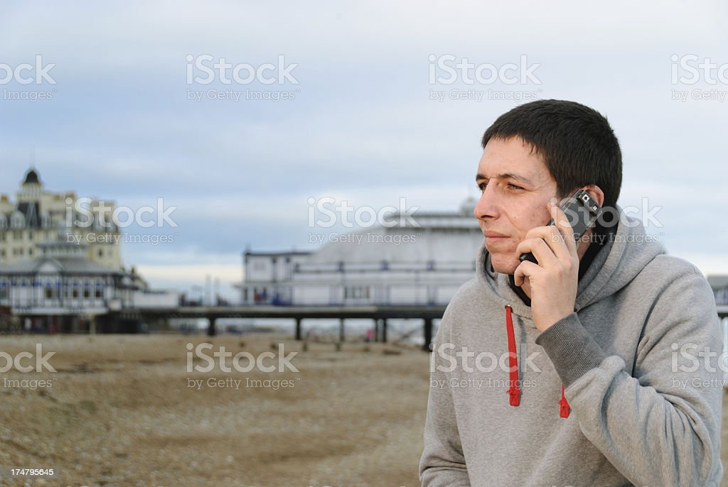 Young Man on Mobile Telephone royalty-free stock photo