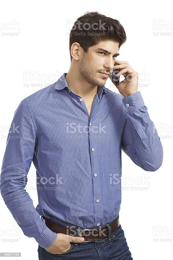 Young man on phone call royalty-free stock photo