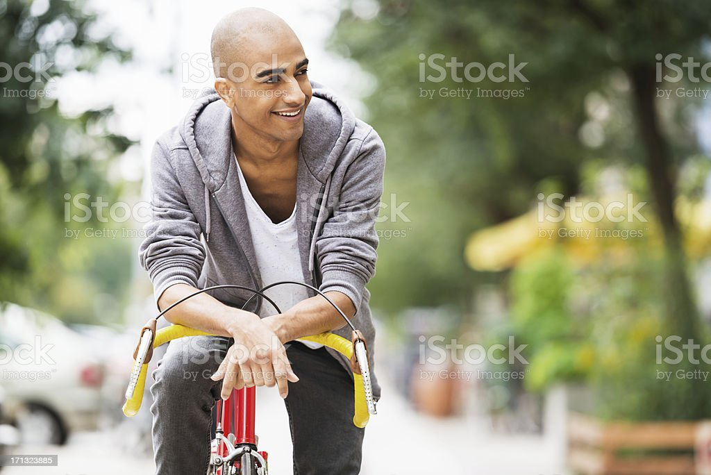 Young Man on Racing Cycle royalty-free stock photo