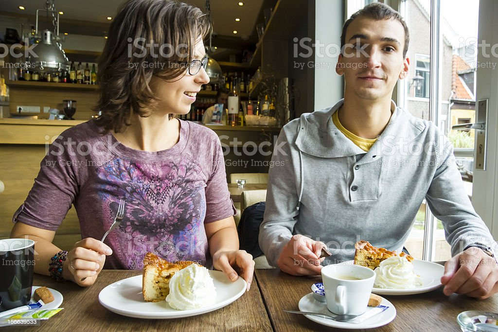 Young man on romantic date with his sweetheart in cafe royalty-free stock photo