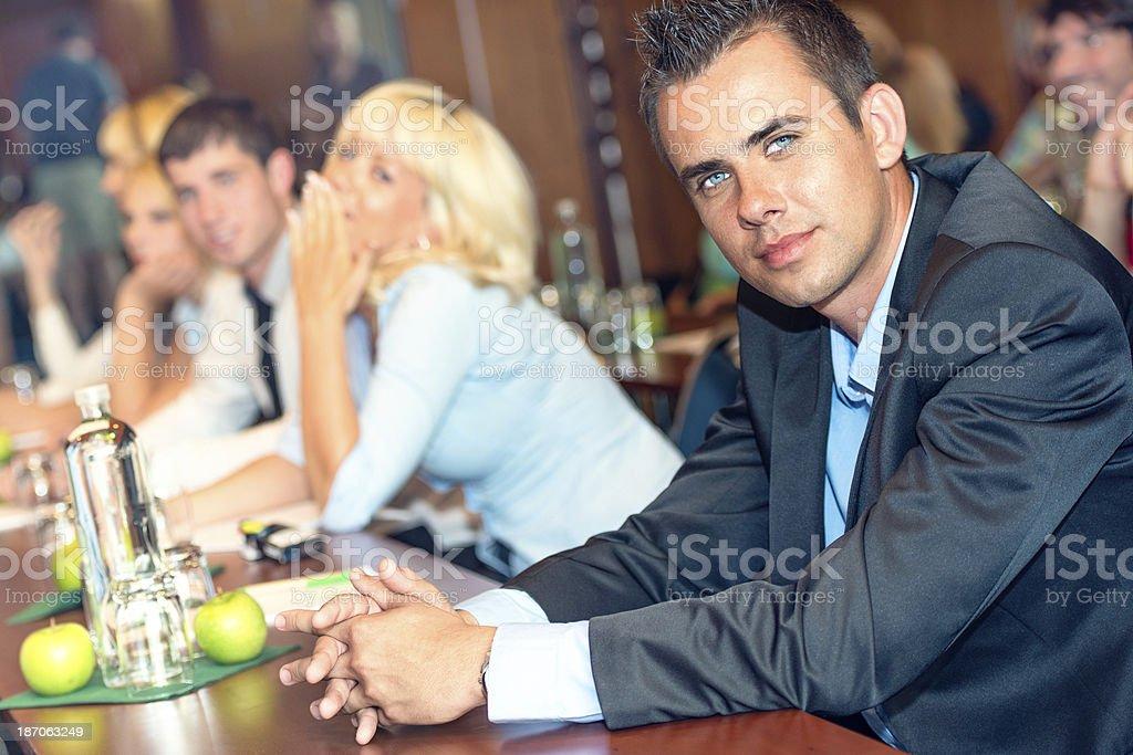 Young man on seminar royalty-free stock photo